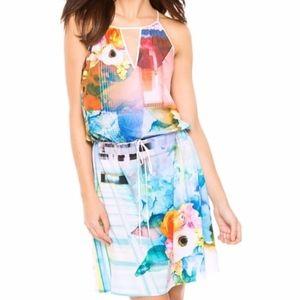 Clover Canyon technicolor rose drawstring dress